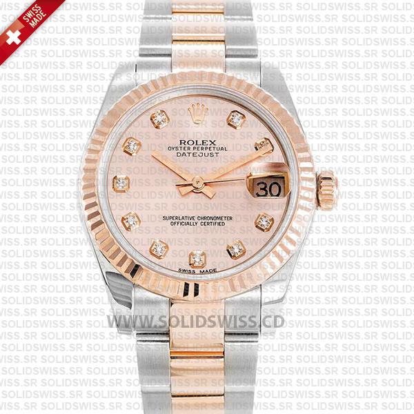 Rolex Datejust 31mm Oyster Pink Diamond 18k Rose Gold 2-Tone Swiss Replica