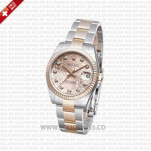 Rolex Datejust 31mm Oyster Pink Jubilee Diamond 18k Rose Gold 2-Tone Swiss Replica
