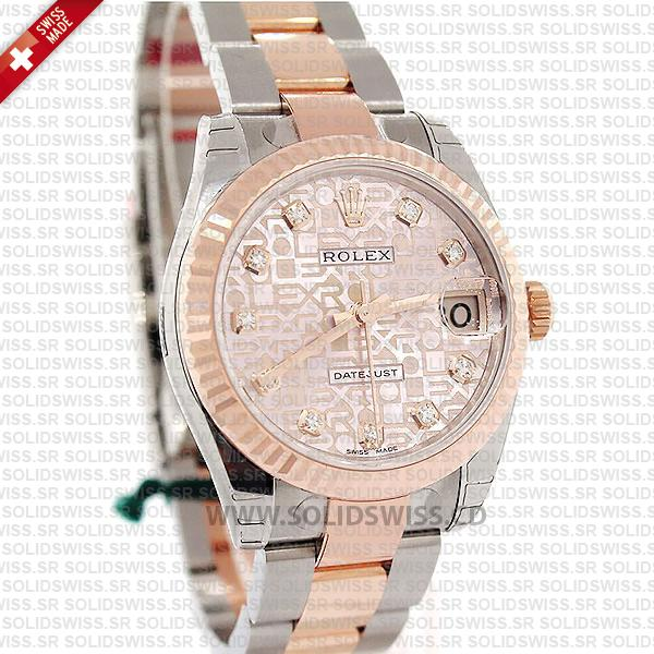 Rolex Lady-Datejust Stainless Steel 18k Rose Gold Two-Tone Pink Jubilee Diamond Dial Oyster Bracelet