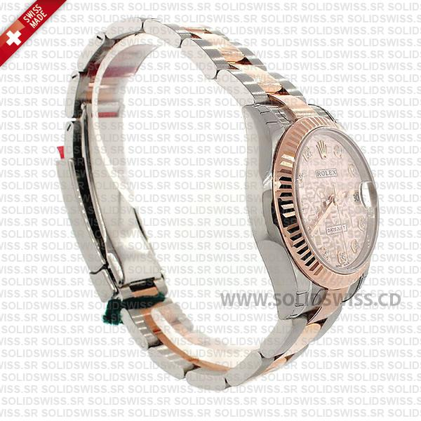 Rolex Lady-Datejust Stainless Steel 18k Rose Gold Two-Tone Pink Jubilee Diamond Dial