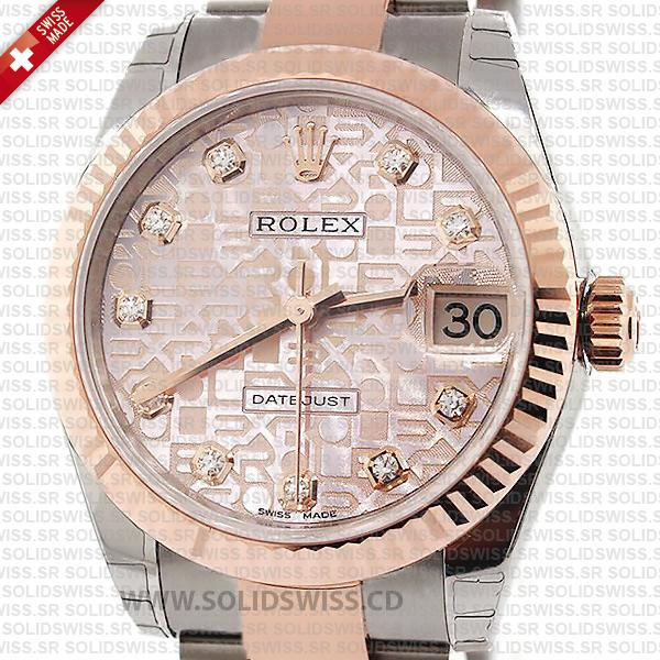Rolex Lady-Datejust Stainless Steel 18k Rose Gold Two-Tone