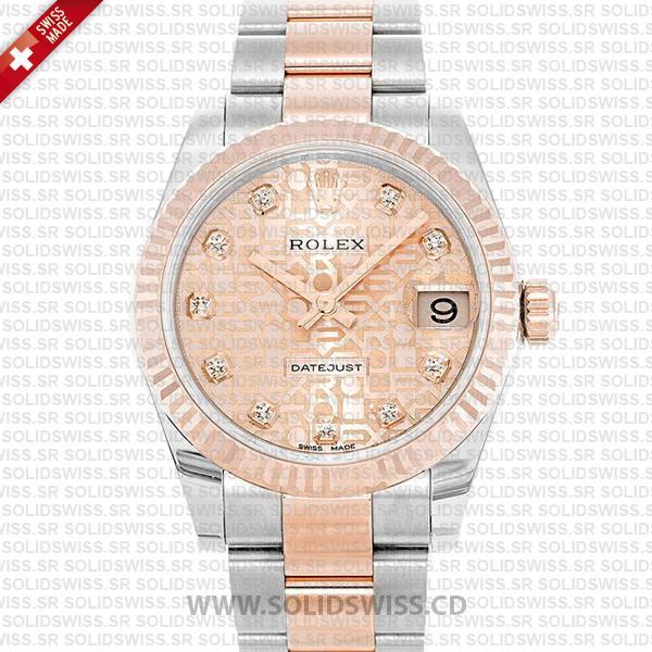 Rolex Datejust 31mm Oyster Pink Jubilee Diamond 18k Rose Gold 2-Tone Swiss Replica