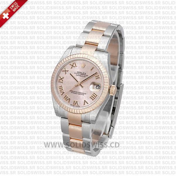 Rolex Datejust Two-Tone Pink Roman Dial 31mm Replica Watch