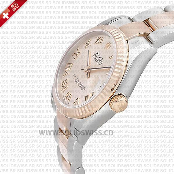 Rolex Datejust 31mm Oyster Pink Roman Fluted Bezel 18k Rose Gold 2-Tone Swiss Replica
