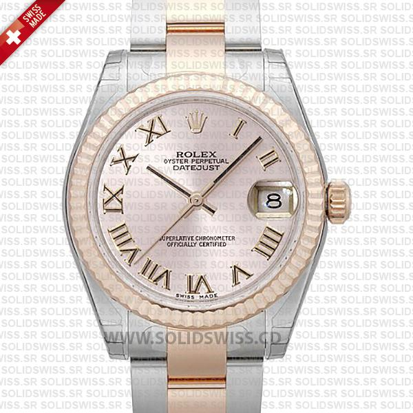 Rolex Datejust Two-Tone Pink Roman Dial 31mm