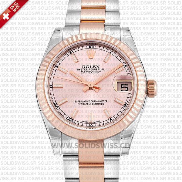 Rolex Lady-Datejust Two-Tone 18k Rose Gold Pink Dial 904L Steel Oyster Bracelet