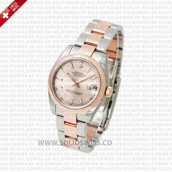 Rolex Datejust 31mm Oyster Pink Sticks 18k Rose Gold 2-Tone Swiss Replica