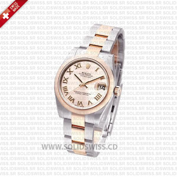 Rolex Datejust 31mm Oyster 18k Rose Gold 2-Tone Rose Roman Swiss Replica