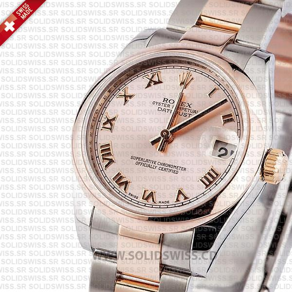 Rolex Datejust 31mm Oyster 18k Rose Gold 2-Tone Rose Roman Swiss Replica