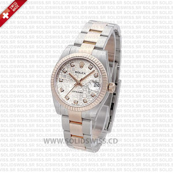 Rolex Datejust 31mm Oyster Silver Jubilee Diamond 18k Rose Gold 2-Tone Swiss Replica