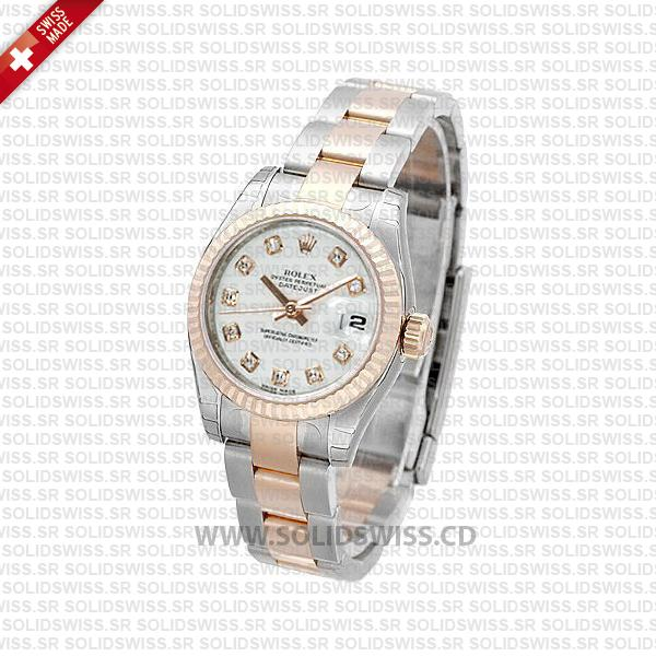 Rolex Datejust 31mm Oyster White Diamonds 18k Rose Gold 2-Tone Swiss Replica