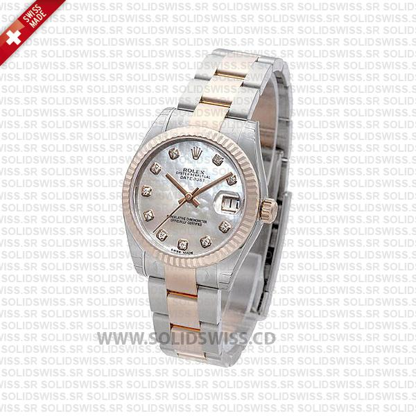 Rolex Datejust 31mm Oyster White Mother Of Pearl Diamonds 18k Rose Gold 2-Tone Swiss Replica