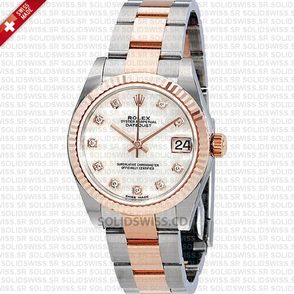 Rolex Datejust Ladies Two-Tone 18k Rose Gold White Mother Of Pearl Diamonds Dial 31mm