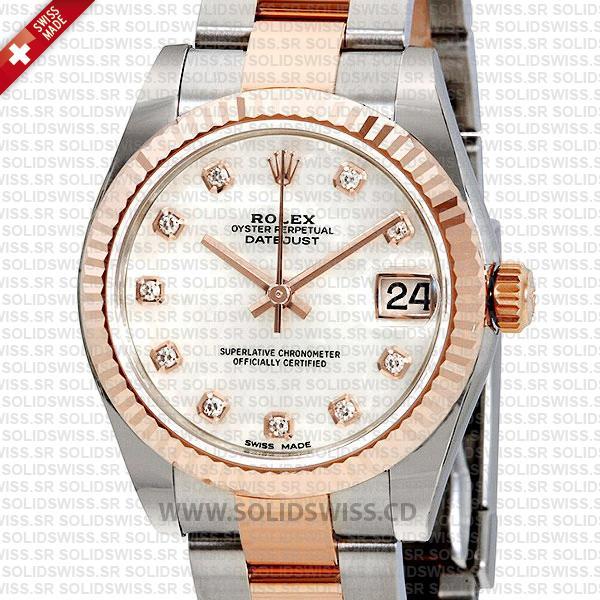Rolex Datejust Ladies Two-Tone 18k Rose Gold