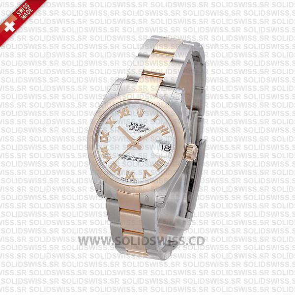 Rolex Datejust 31mm Oyster 18k Rose Gold 2-Tone White Roman Swiss Replica