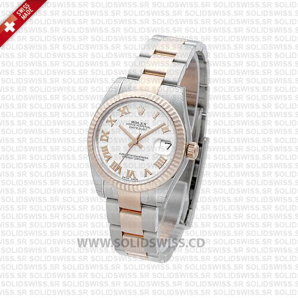 Rolex Datejust 31mm Oyster White Roman Fluted Bezel 18k Rose Gold 2-Tone Swiss Replica