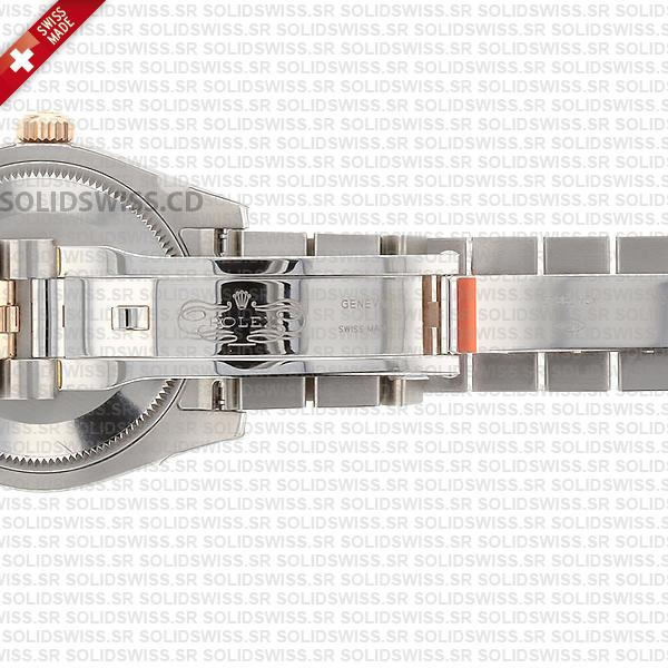 Rolex Lady-Datejust 31mm Two-Tone 18k Rose Gold Smooth Diamond Bezel Chocolate Roman Dial