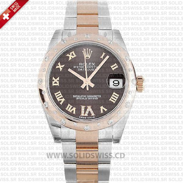 Rolex Datejust 31mm Oyster Chocolate Diamond 18k Rose Gold 2-Tone Swiss Replica