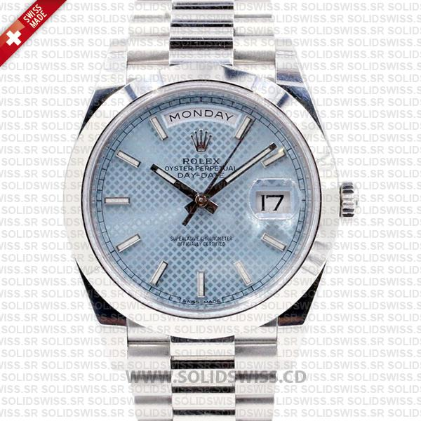 Rolex Day-Date 40 Platinum Ice Blue Dial | Swiss Replica Watch