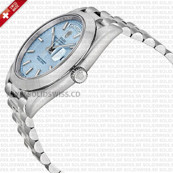 Rolex Day-Date 40 Platinum Ice Blue Dial