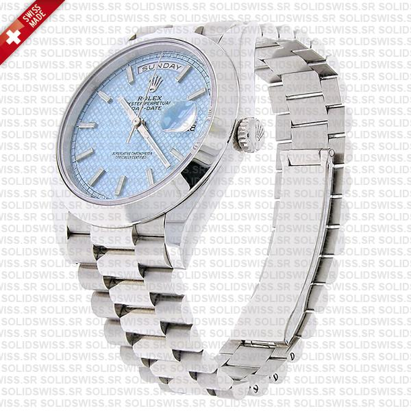 Swiss Replica Rolex Day-Date 40 Platinum Ice Blue Diagonal Motif