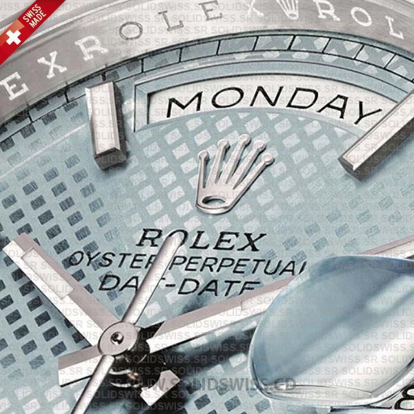 Swiss Replica Rolex Day-Date 40 Platinum Ice Blue Diagonal Motif