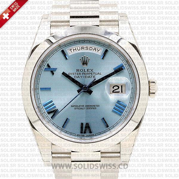 Swiss Replica Rolex Day-Date 40 Ice Blue Quadrant Motif Roman