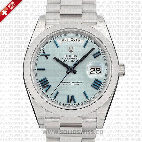 Swiss Replica Rolex Day-Date 40 Ice Blue Quadrant Motif Roman