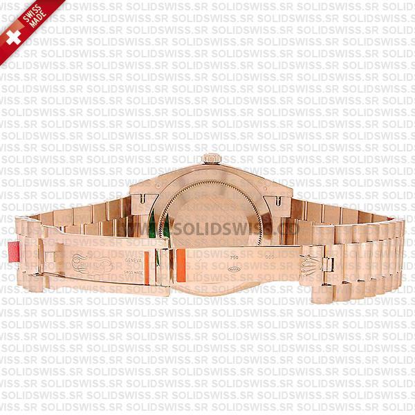 Swiss Replica Rolex Day-Date 40 Sundust Stripe Motif Stick 18K Rose Gold