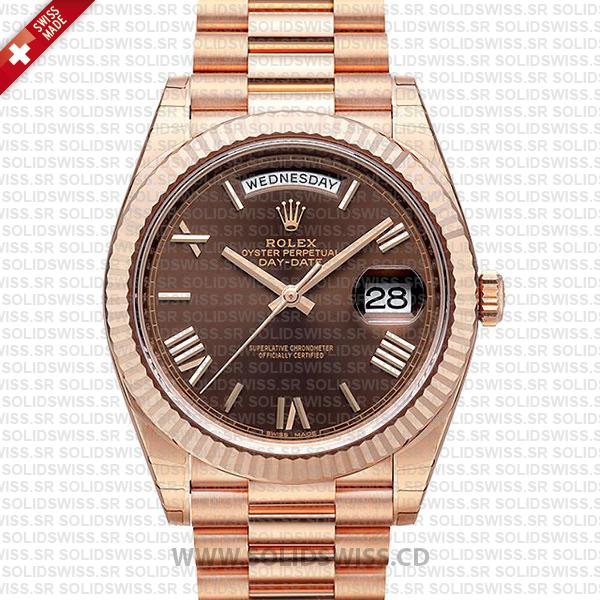 Swiss Replica Rolex Day-Date 40 Chocolate 18K Rose Gold Roman
