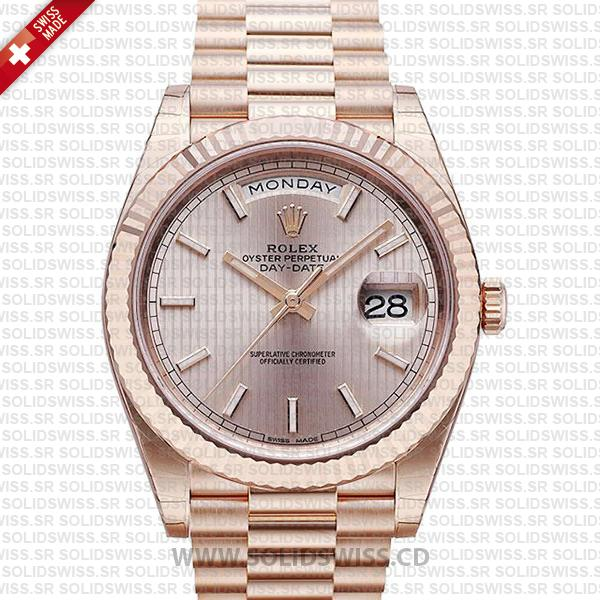 Swiss Replica Rolex Day-Date 40 Sundust Stripe Motif Stick 18K Rose Gold