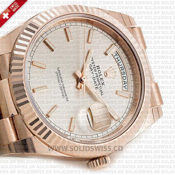 Rolex Day-Date 40 Rose Gold Watch Sundust Stripe Dial
