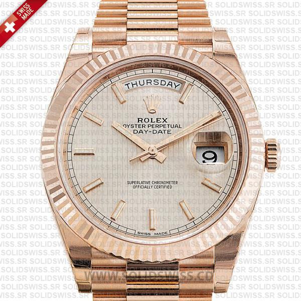 Rolex Day-Date 40 Rose Gold Sundust Stripe Dial