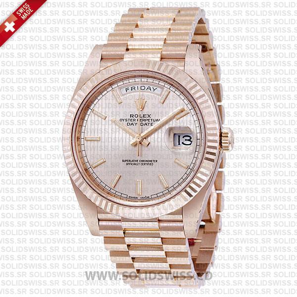 Rolex Day-Date 40 Rose Gold Sundust Stripe Dial Replica Watch