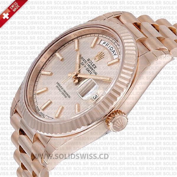 Rolex Day-Date 40 Rose Gold Sundust Stripe Dial Watch