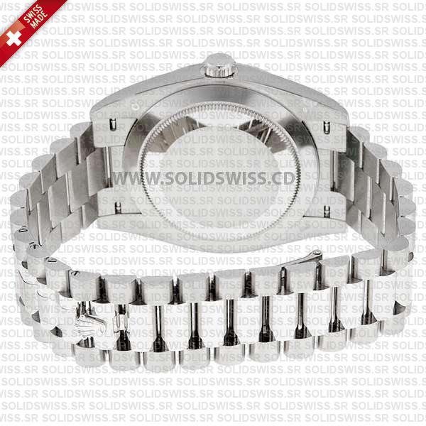 Rolex Oyster Perpetual Day-Date 40 Dark Rhodium Stripe Motif Stick Dial White Gold President Bracelet