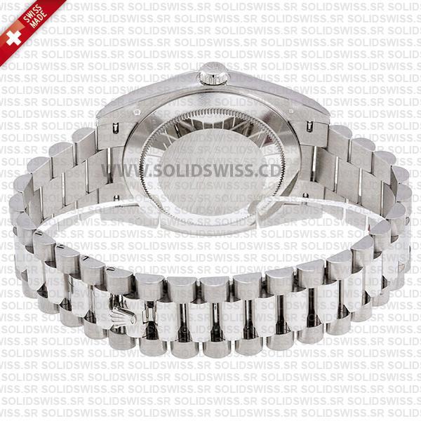 Rolex Day-Date 40mm White Gold Rhodium Stripe Dial