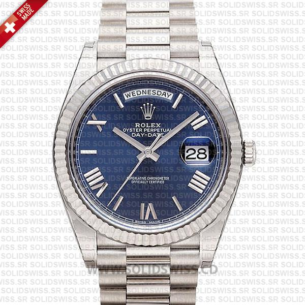 Swiss Replica Rolex Day-Date 40 Blue Roman 18k White Gold 40mm 228239