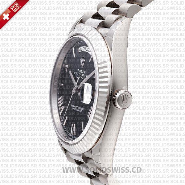 Swiss Replica Rolex Day-Date 40 Blue Roman 18k White Gold 40mm 228239