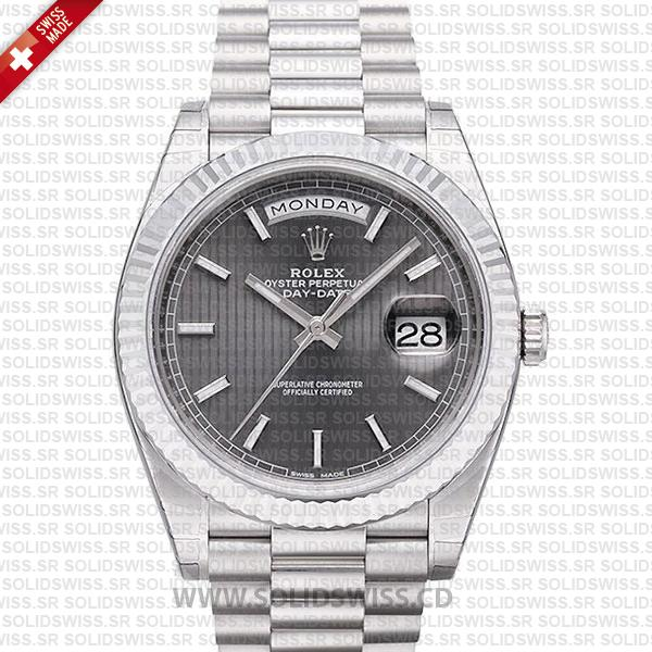 Rolex Day-Date 40 White Gold Rhodium Stripe Dial Watch