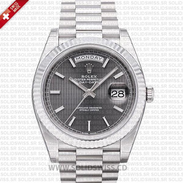 Rolex Day-Date 40 White Gold Rhodium Stripe Dial Watch