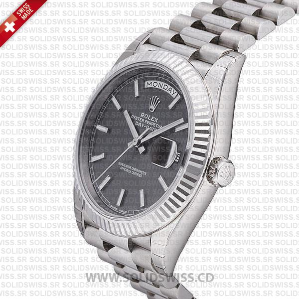 Swiss Replica Rolex Day-Date 40 Dark Rhodium Stripe Motif 18k White Gold 40mm 228239