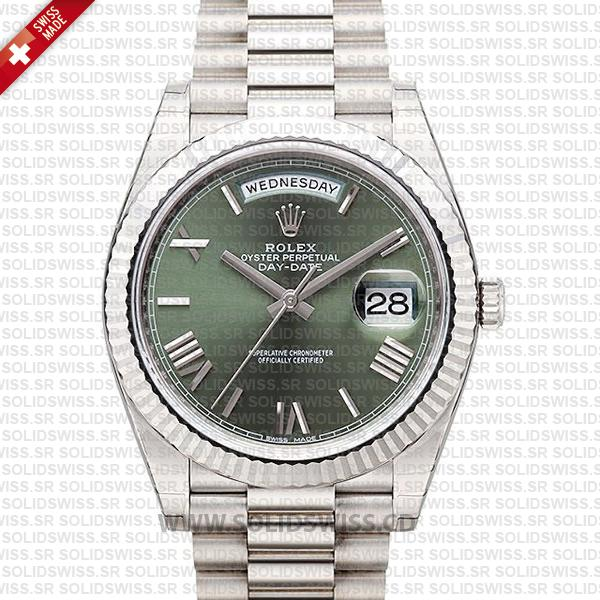 Swiss Replica Rolex Day-Date 40 Olive Green Roman 18k White Gold 40mm 228239