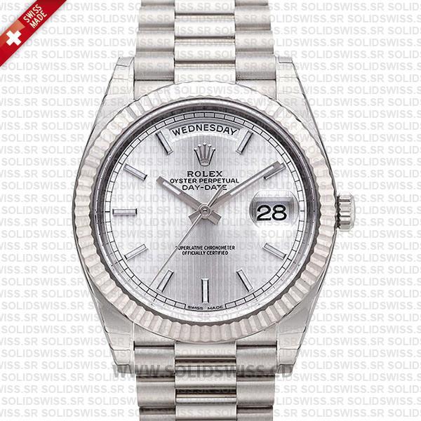 Rolex Day-Date 40 White Gold Silver Strip Dial | Swiss Replica