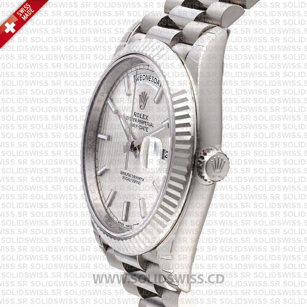 Rolex Day-Date 40 White Gold Silver Strip Dial