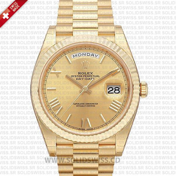 Swiss Replica Rolex Day-Date 40 18k Yellow Gold Gold Roman 40mm 228238
