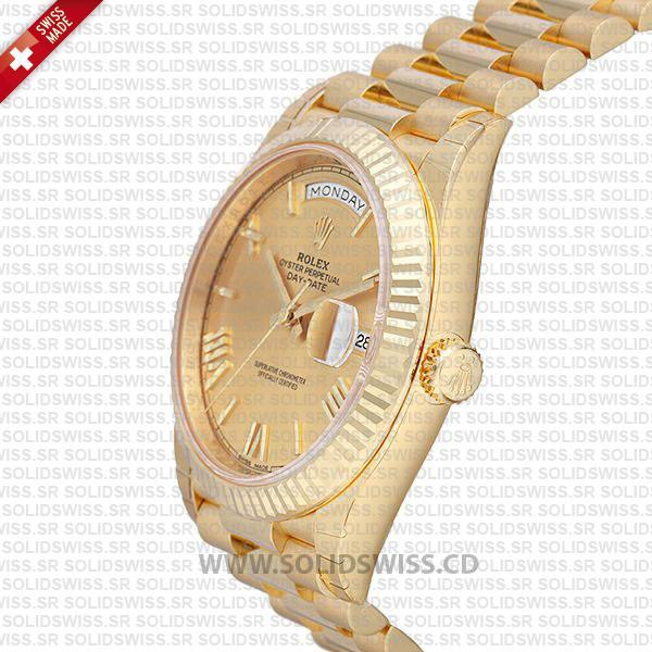 Swiss Replica Rolex Day-Date 40 18k Yellow Gold Gold Roman 40mm 228238