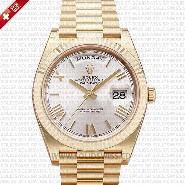 Rolex Day-Date 40 Gold Silver Roman Dial | Solidswiss Replica