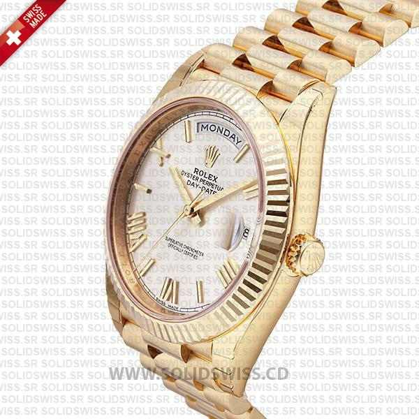 Swiss Replica Rolex Day-Date 40 18k Yellow Gold Silver Roman 40mm 228238