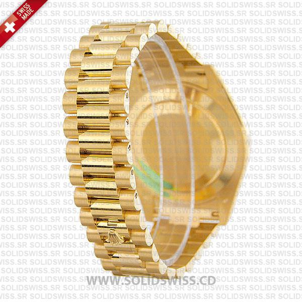 Rolex Day-Date II Yellow Gold Diamond Dial, 904L Steel President Bracelet Watch